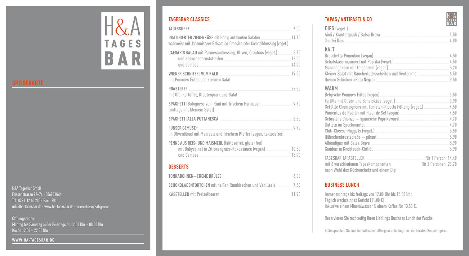 Die Speisekarte Restaurant und Tapasbar in Köln, Tapas und Weinbar am Friesenplatz