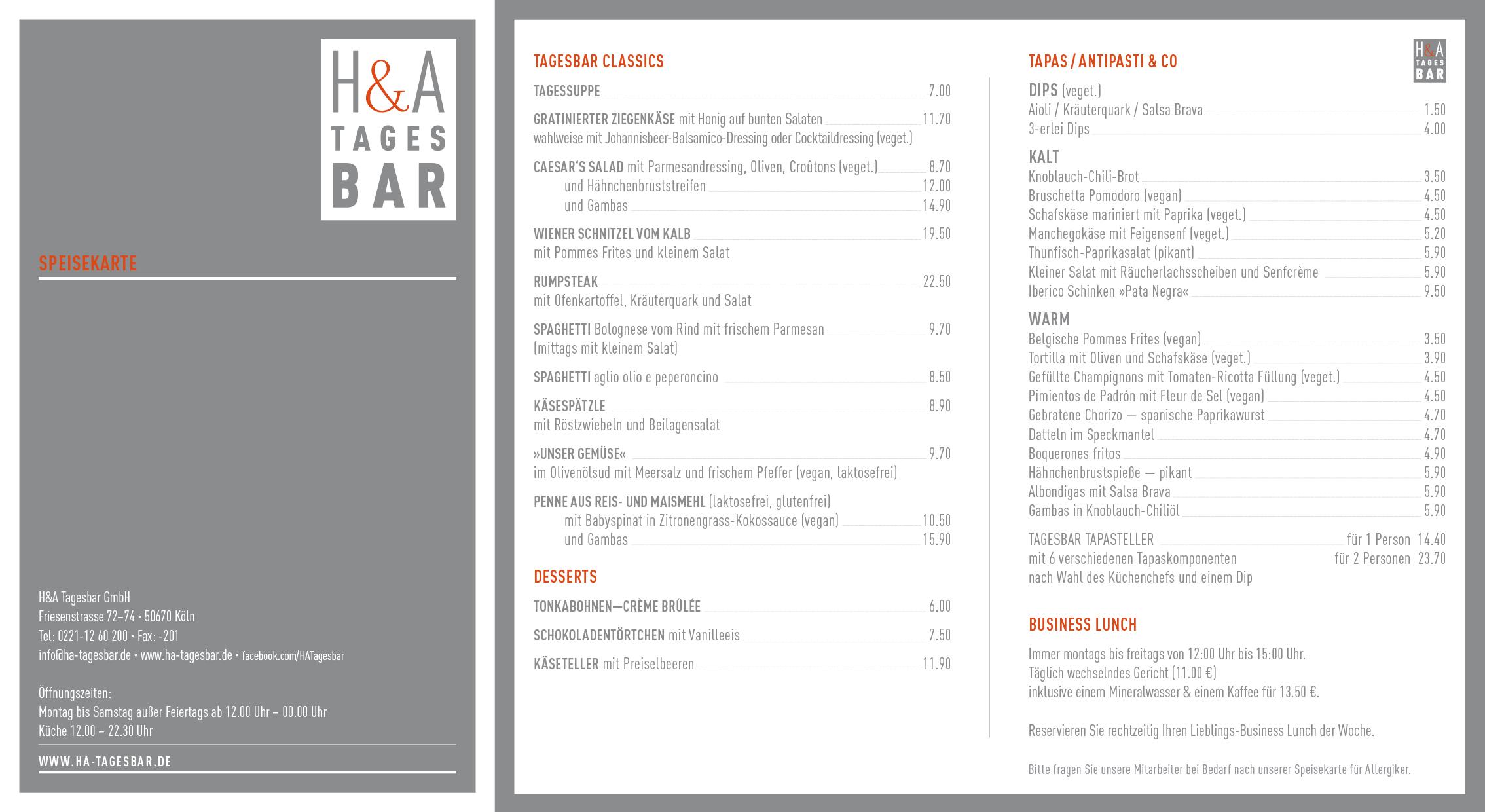 Die Speisekarte für das Restaurant in der Domstadt, Kölle Restaurant in der Innenstadt, am Ring die Tapasbar