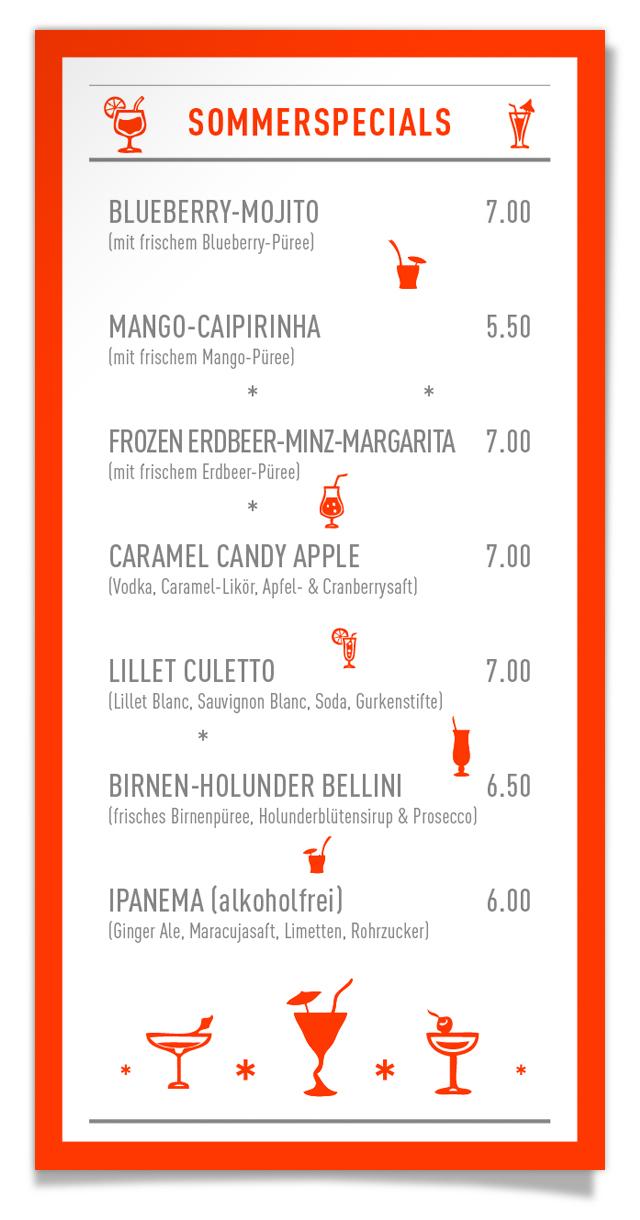 HuA_Tagesbar_Cocktailkarte, Tapasbar Friesenplatz, Köln, Mojito, Caipirinha, Lillet Culetto