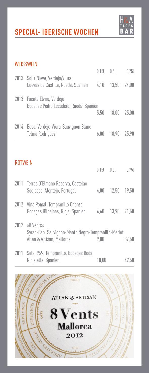 Iberische Wochen Special, Tapas Bar am Friesenplatz in Köln, Weinkarte