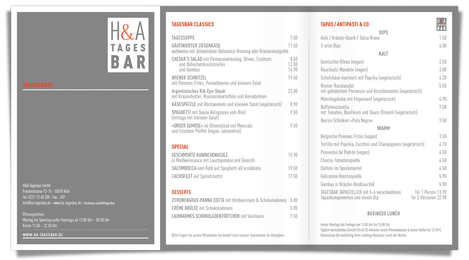 H&A TAGESBAR Speisekarte , Pimientos de Padrón, Chorizo, Ibericospieße, Manchegokäse