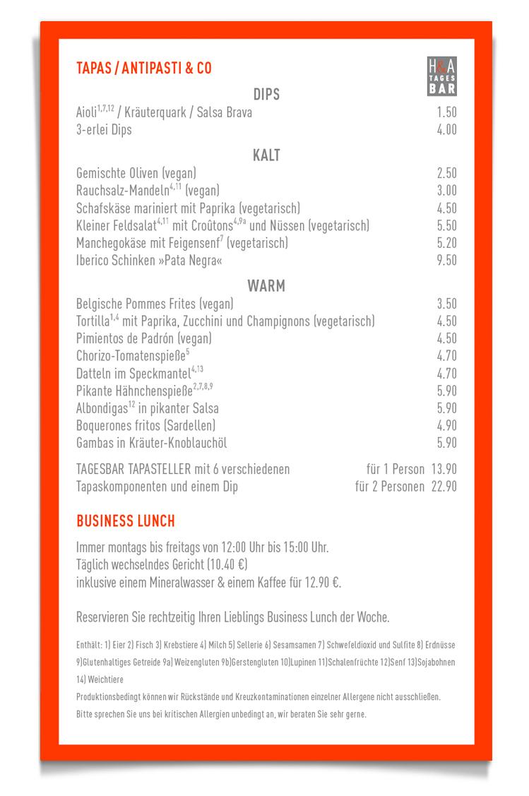 Die Tapasbarkarte in der Tagesbar, Das Restaurant am Friesenplatz in Köln,