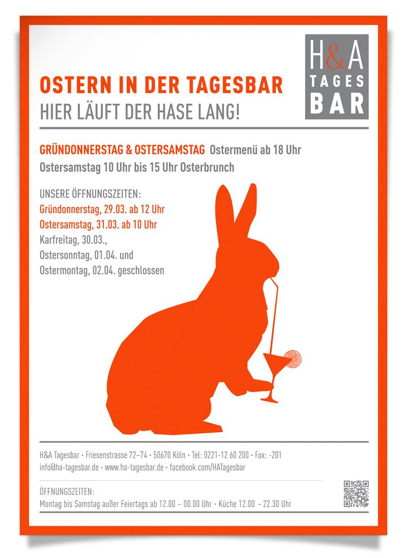 Öffnungszeiten zu Ostern in der Tagesbar, Im Restaurant am Friesenplatz, mit Brunch und Ostermenü