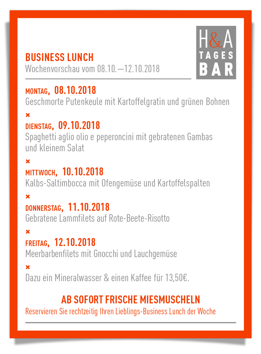 businessLunch, die tagesbar, ein restaurant und cafe am Friesenplatz in Köln, dinner lunch weinbar in der