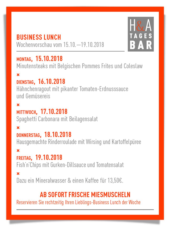 dein businessLunch in der tagesbar, das restaurant  cafe  und weinbar  mit der mittagskarte, dinner im Herzen von Köln