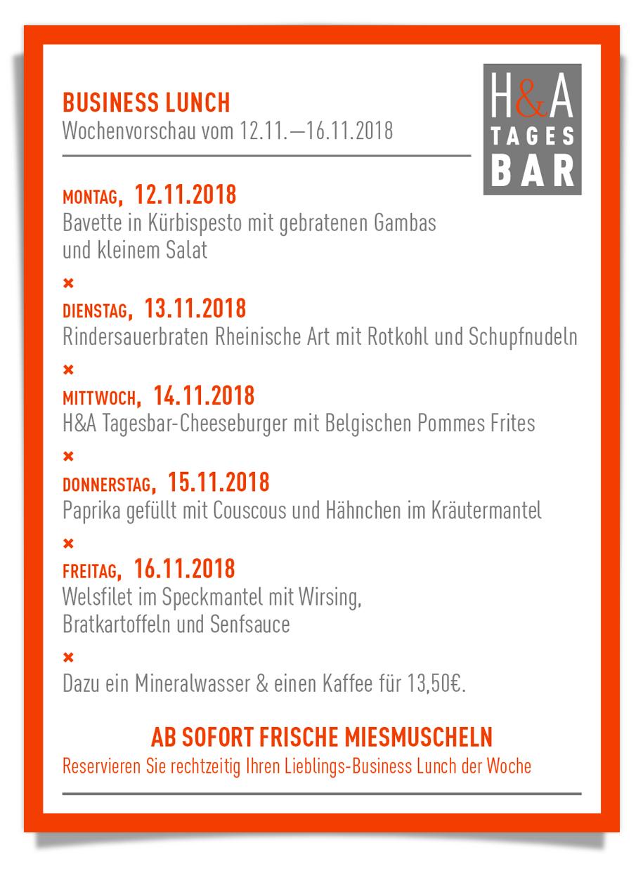 weinbar und Café in Köln am Friesenplatz, Belgischer Viertel Cafe und Tapasbar, Die Mittagskarte