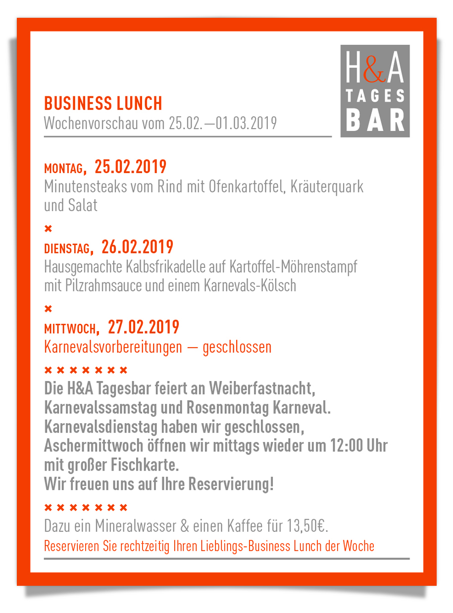 #businesslunch am Friesenplatz, #mittagskarte, Restaurant und Bar in Köln, Cologne Food
