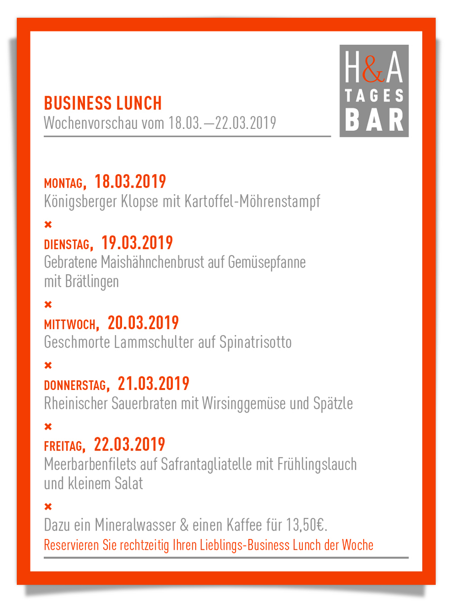 BUsiness Lunch in Köln, Mittagskarte am Friesenplatz, Restaurant und Weinbar