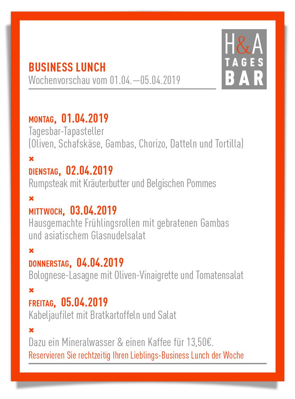 die Mittagskarte im Restaurant am Friesenplatz in Köln, Die TAPAS bar und Weinbar, Speisekarte