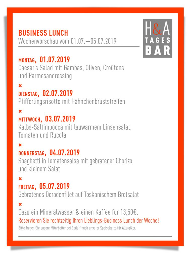 Restaurnat am Friesenplatz in Köln, Tapas und WEinbar in Köln, Mittagskarte
