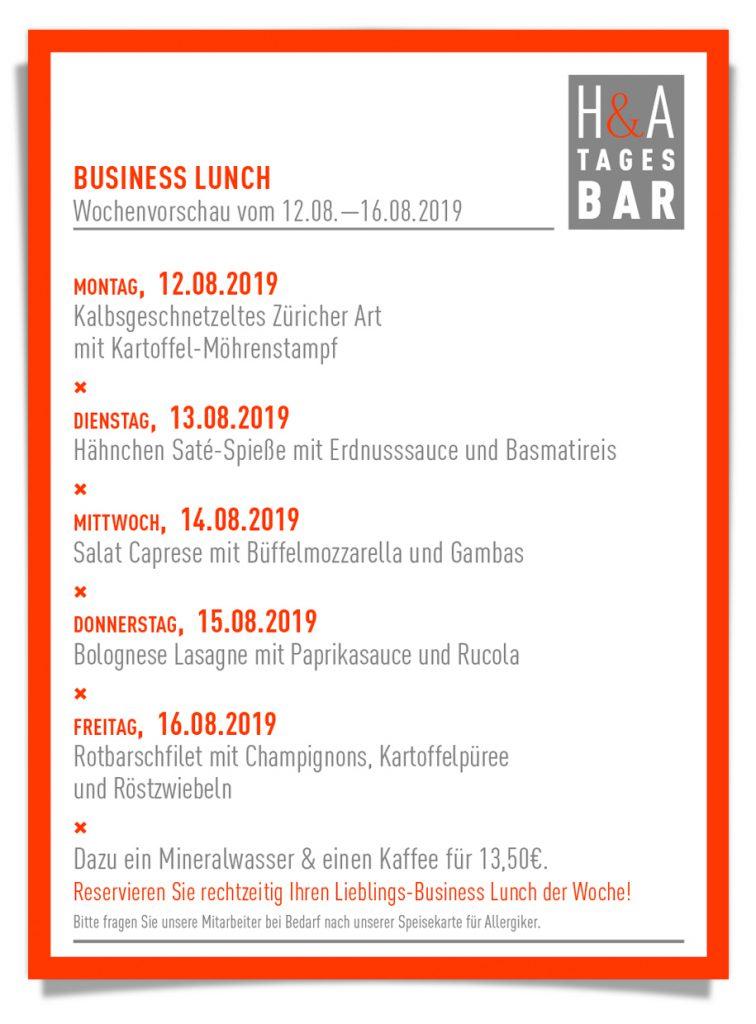 Die Mittagskarte von der Tagesbar, Business Lunch im Restaurant und Tapasbar, Tapas Bar und Wein Bar in Köln