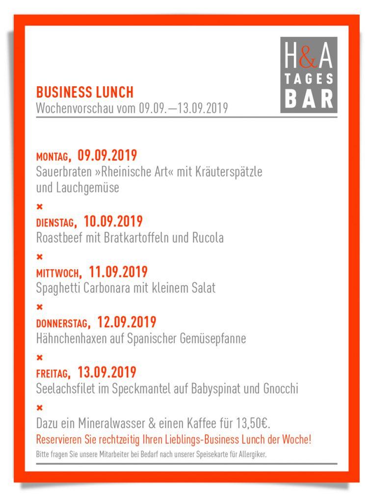 Die Speisekarte der HA-Tagesbar mit der Mittagskarte, Business Lunch im Herzen von Köln, Weinbar und Tapas Bar am Ring