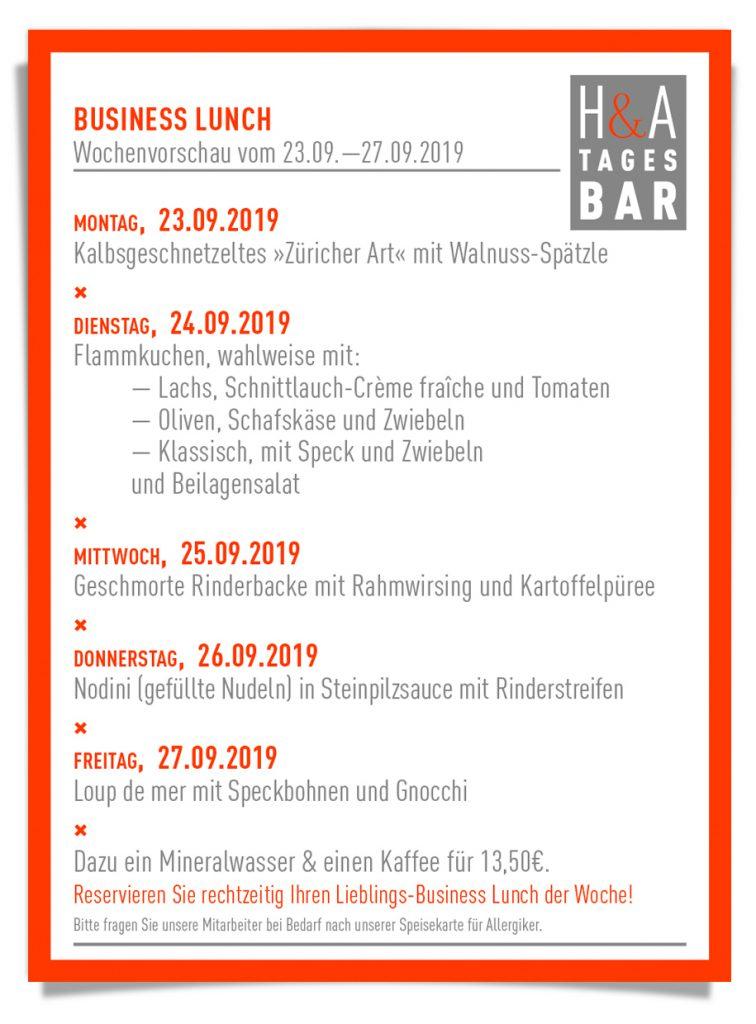 Die Tagesbar mit der Mittagskarte, Business Lunch undTapas in Köln