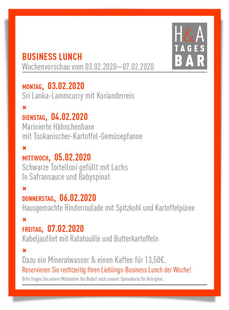 Der businessLunch in der tagesbar und restaurant in Köln am Friesenplatz, cafe  und weinbar mit mittagskarte, dinner and lunch to colognefoodguide
