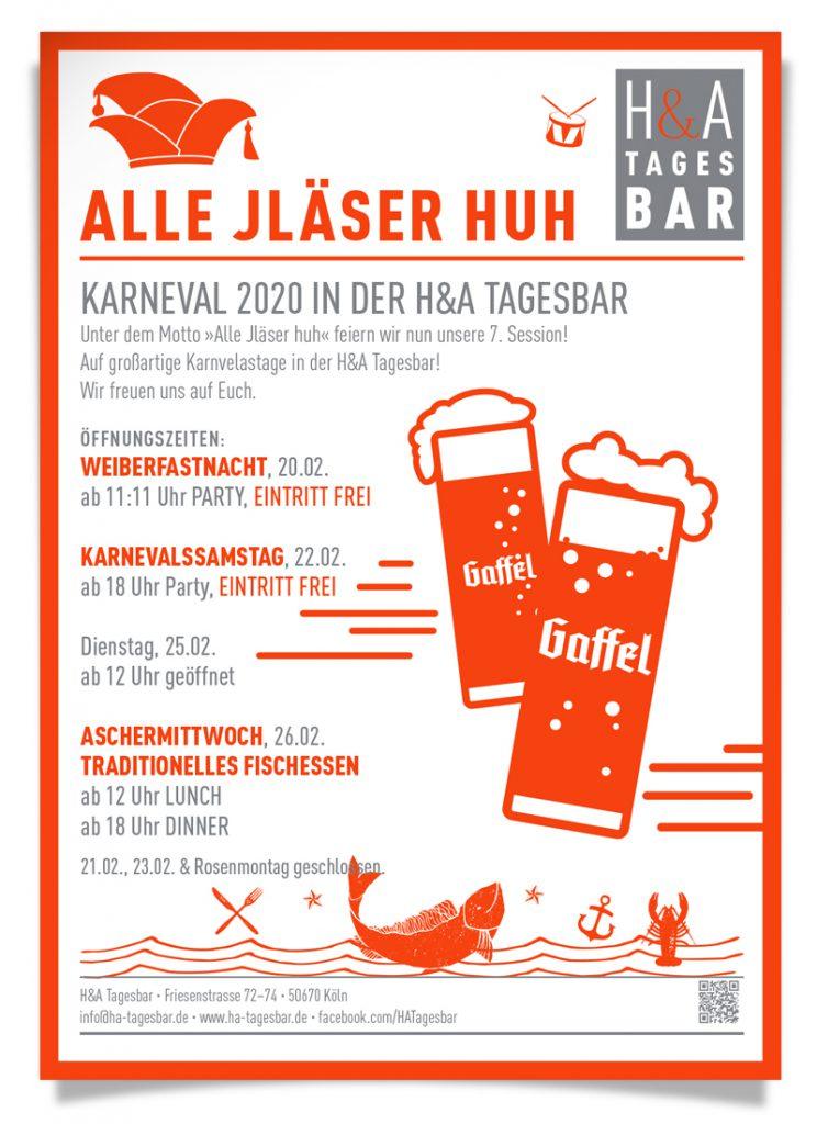 Karneval 2020 in Köln, in der Tages bar ALLE JLÄSER HUH, wir feiern unsere 7 Session, Öffnungszeiten: Weiberfastnacht und Karnevalssamstag