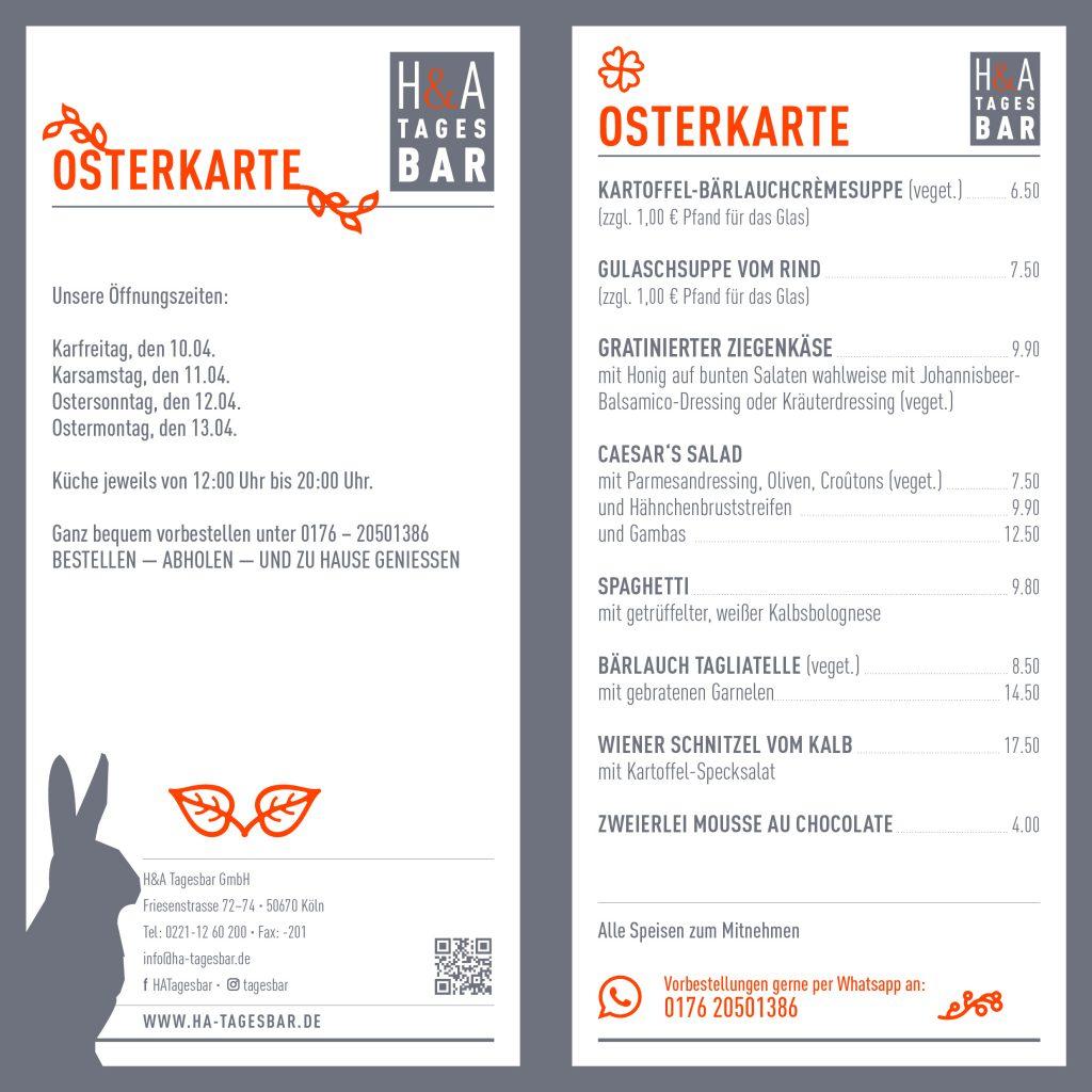 Speisekarte zu Ostern, Osterspeisekarte in der H&A Tagesbar in Köln