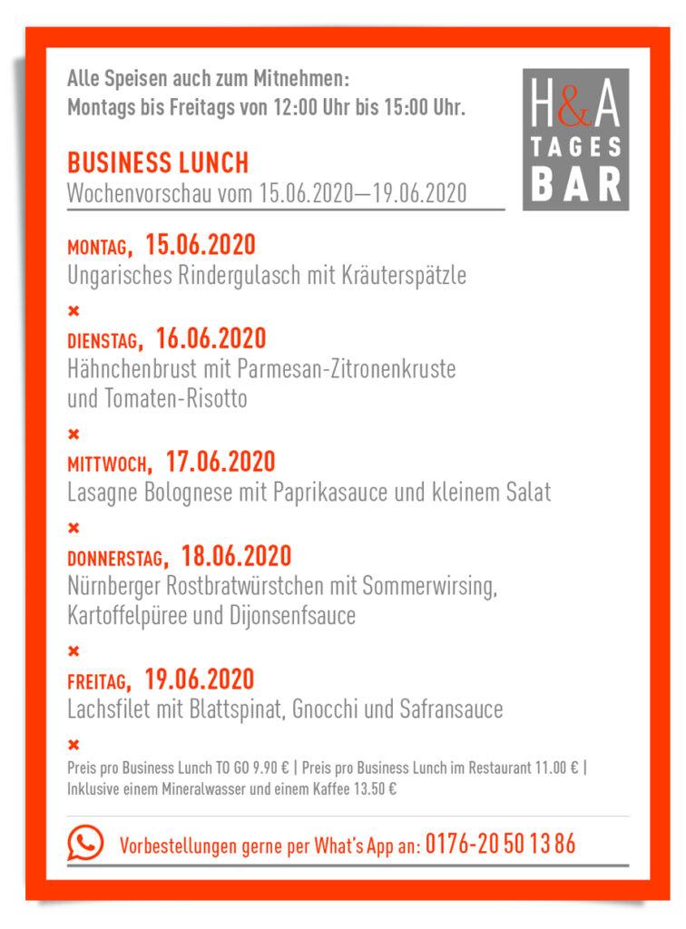 Die MIttagskarte für das Restaurant und die Tapasbar am Friesenplatz