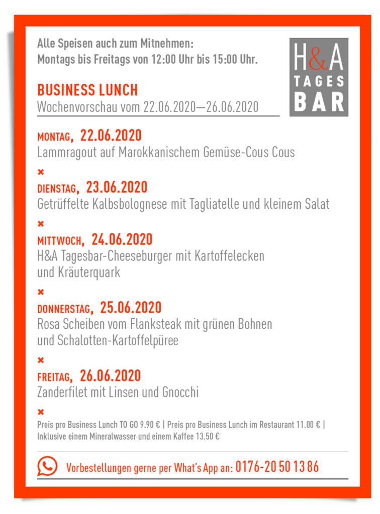 Die Tagesbar in Köln mit dem Business Lunch und Mittagskarte