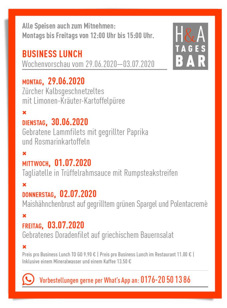 Die Speisekarte von der Tapas und Weinbar in Köln, am Friesenplatz Business Lunch, Mittagskarte
