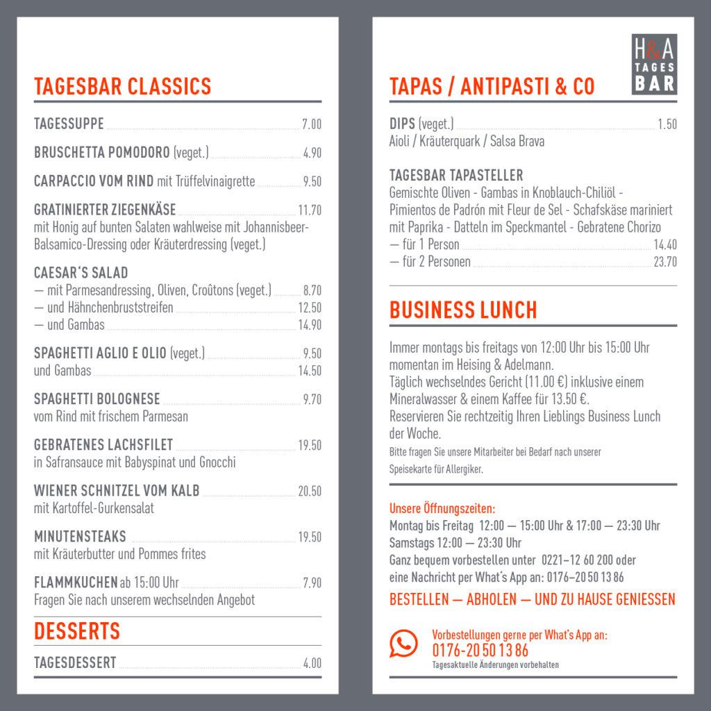 Die Speisekarte für den Abend im Restaurant und der Tapas Bar in Köln, Tapas und Weinbar am Friesenplatz