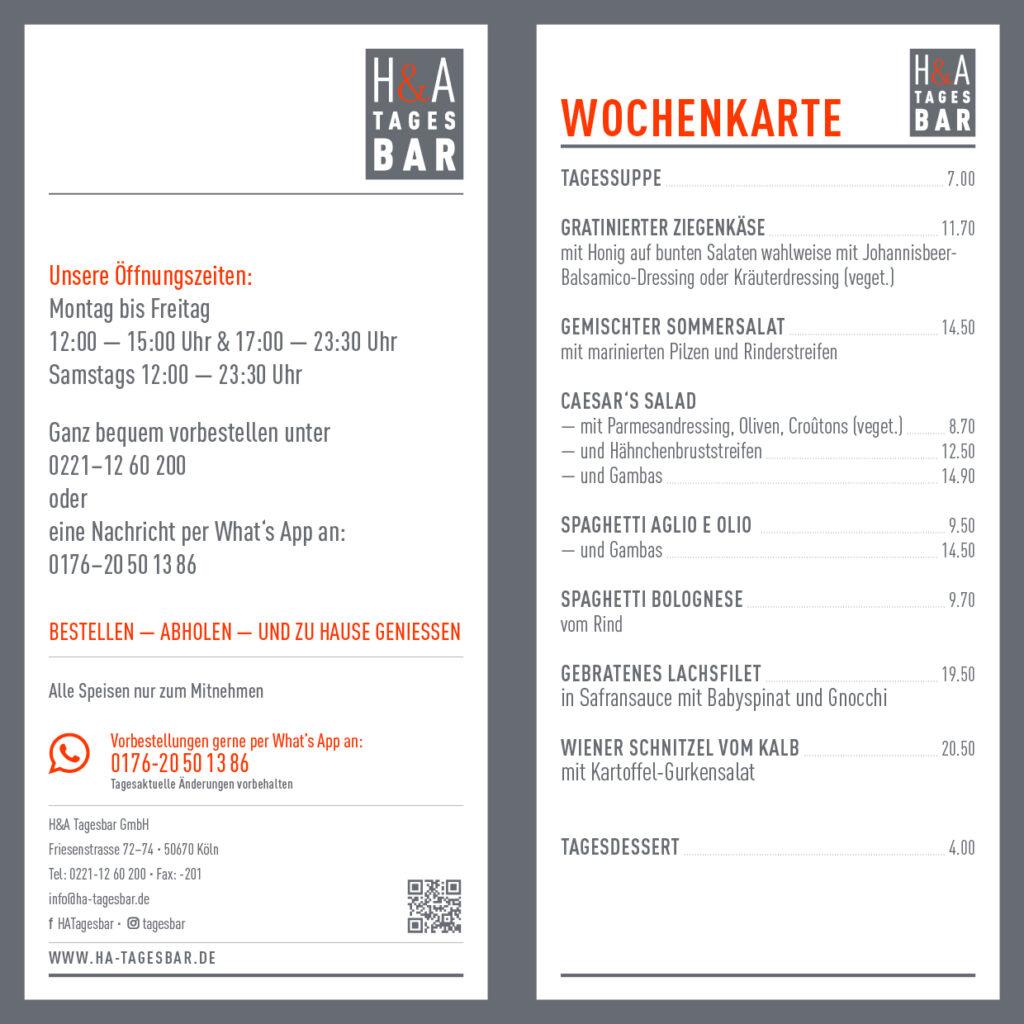 Restaurant speisekarte in Köln, Tagesbar Wochenkarte 26