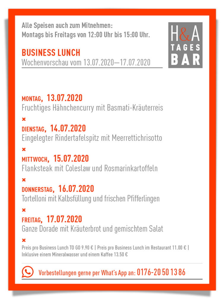 Der Business Lunch in der Tagesbar, MItagskarte in der Tapasbar