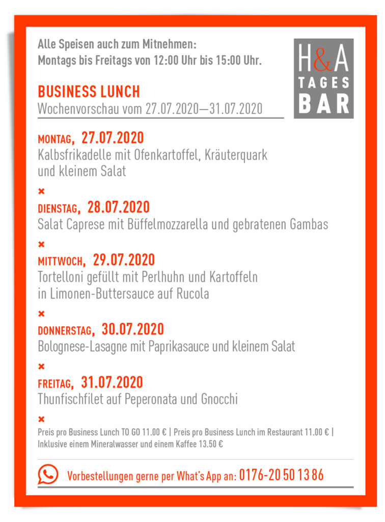 der Business Lunch für die KW 31, Mittagskarte in Köln Restaurant am Friesenplatz