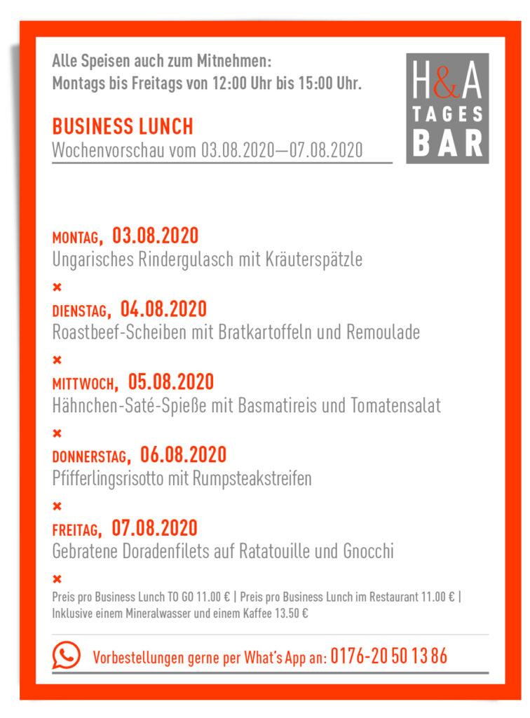 Die Mittagskarte, Speisekarte für das Business Lunch in Der Tapasbar und Restaurant am Friesenplatz in Köln
