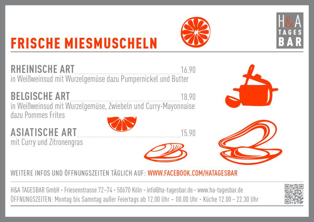 Die Muschelkarte für die HA Tagesbar am Friesenplatz