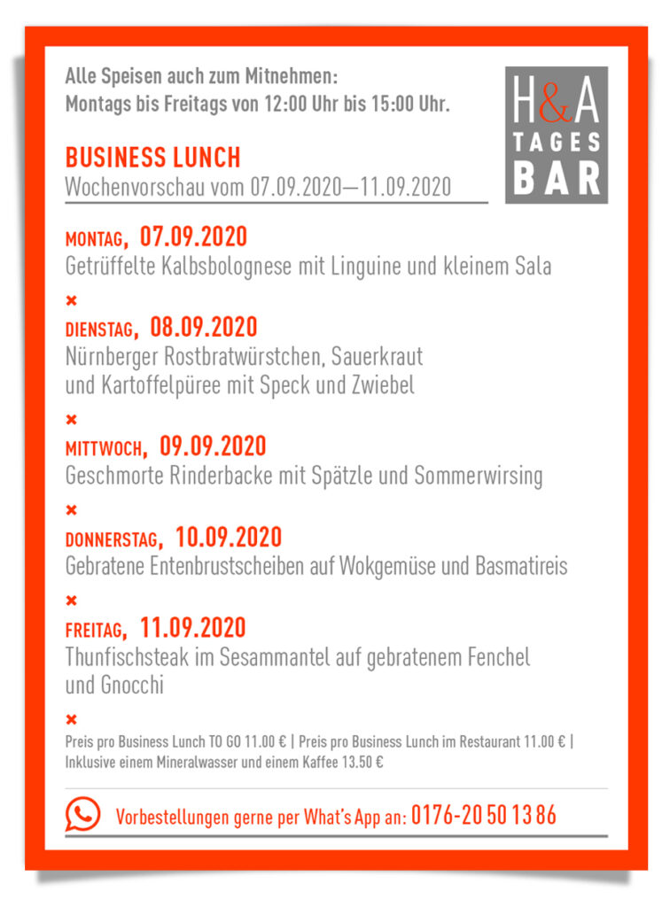 Mittagskarte in Köln, Restaurant am friesenplatz mit Busness Lunch, Food Cologne, Der Business Lunch für die KW 37 in der Tapasbar