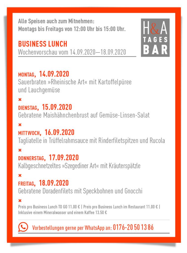 Die Tagesbar mit der MIttagskarte und dem Business Lunch in der KW38, Tapasbar am Friesenplatz in Köln