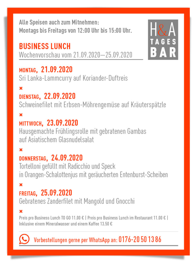 die Tagesbar in Köln, Cologne food mit Business Lunch , Mittagskarte am Friesenplatz