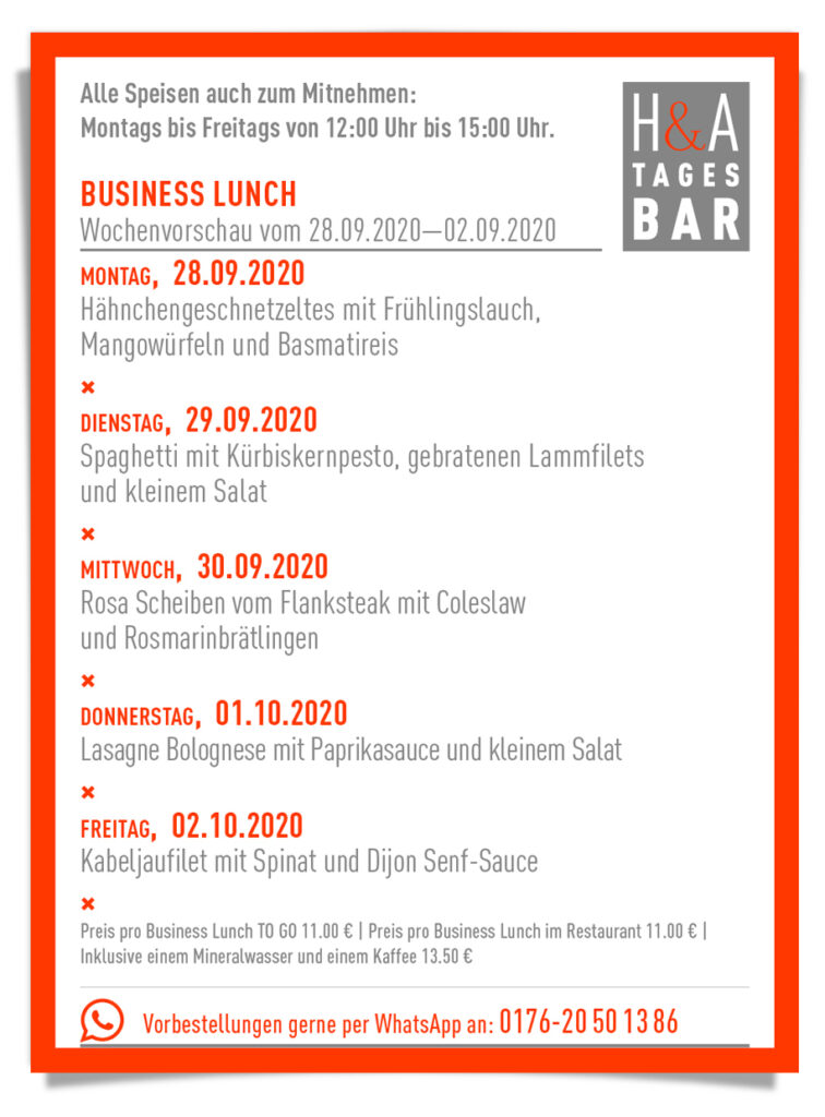 HA Tagesbar mit dem Business Lunch , Cologne Food, Mittagskarte in der Friesenstrasse