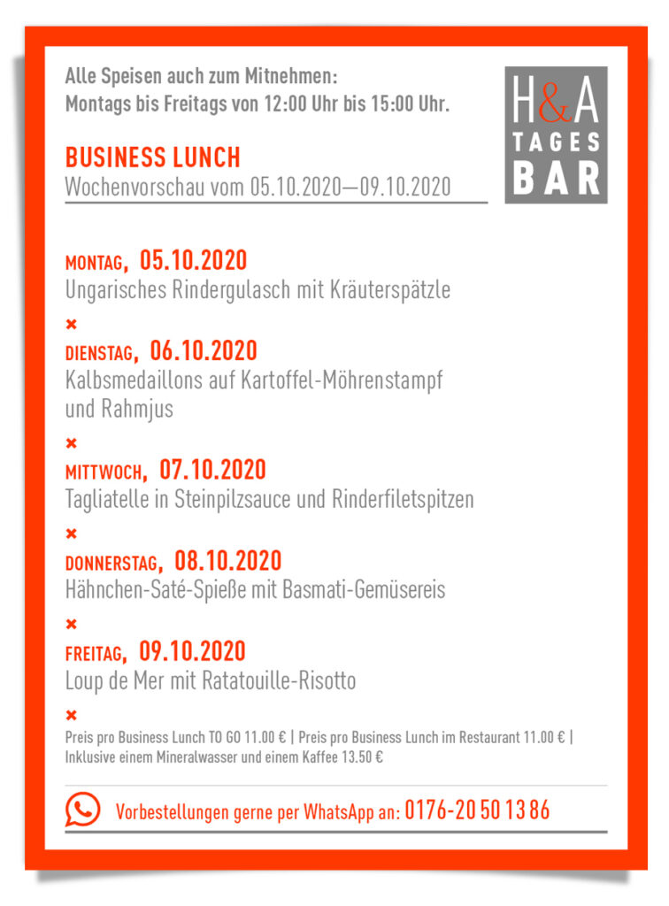 Die Tagesbar mit dem Business Lunch in der Friesenstrasse in Köln, Cologne Food