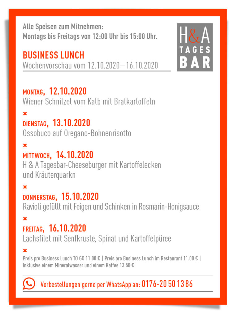 Der Business Lunch zum Abholen in der Friesenstrasse, Cologne Food at Tagesbar