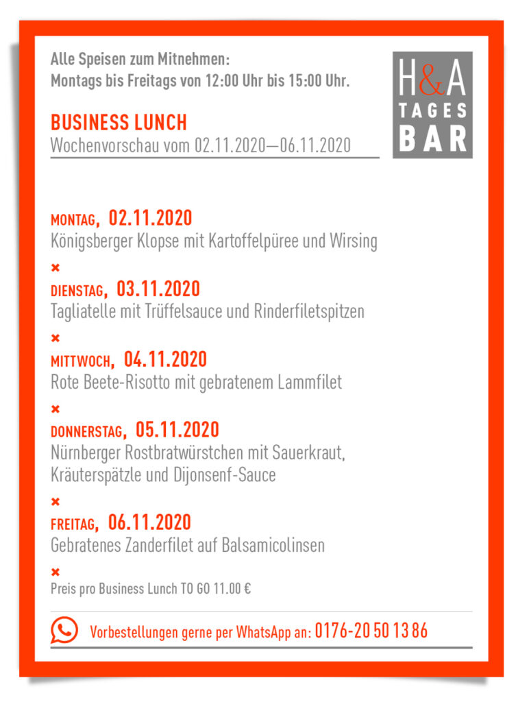 Der Business Lunch in Köln, Lunch in Corona Zeit, Friesenplatz und Friesenstrasse Köln Restaurant