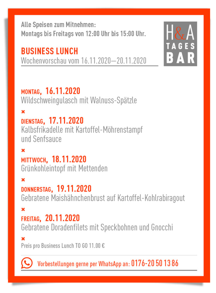 Der Business Lunch in der Tagesbar in Köln, Take Away , und Togo Food in Köln, Cologne Food