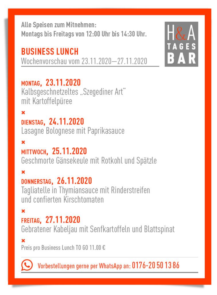 Der Business Lunch zum Abholne und geniessen, Mittagskarte in Köln, cologne Food