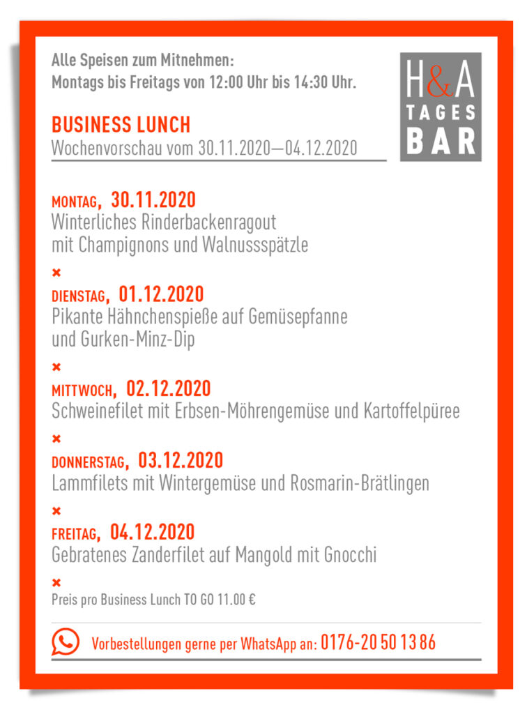 Der Business Lunch in der Tagesbar, KW 49 Mittagskarte, Restaurant in der Friesenstrasse, Tapasbar