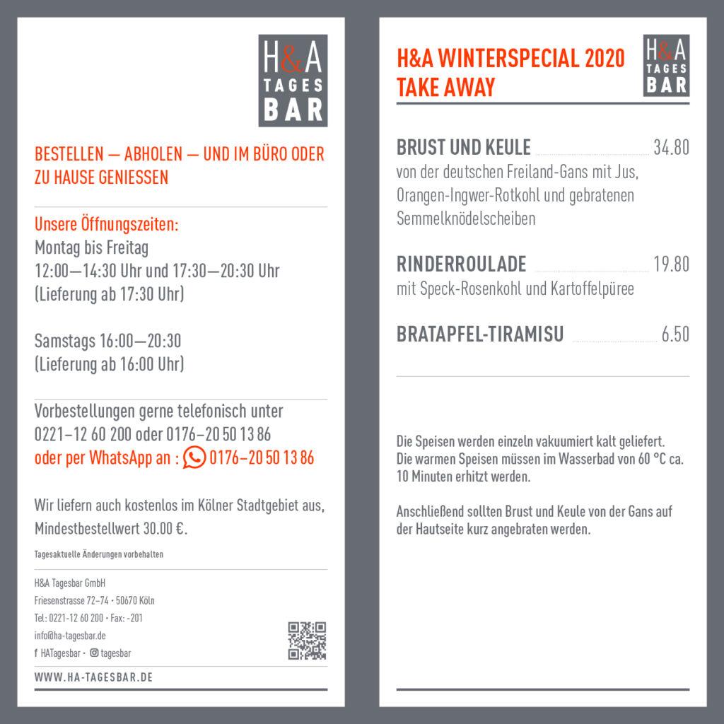 Winterspecial Brust und Keule von der Gans, in der Tagesbar Restaurant am Friesenplatz