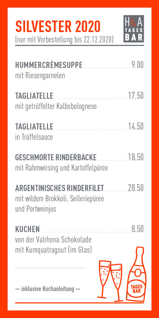 Silvestermenü in der Tagesbar, Heising & Adelmann Friesenstrasse Silvesterkarte