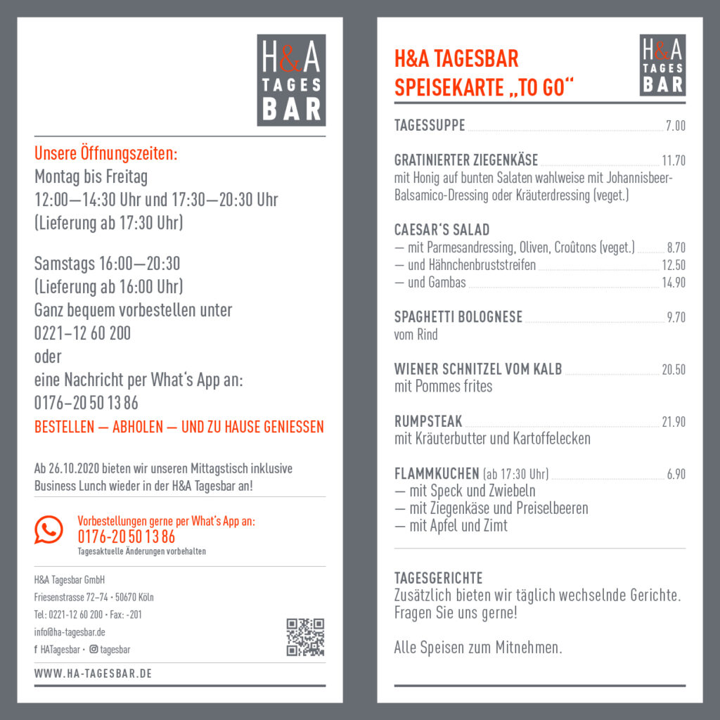 die Take Away Speisekarte vom Restaurant in der Friesenstrasse, in Köln Speisekarte