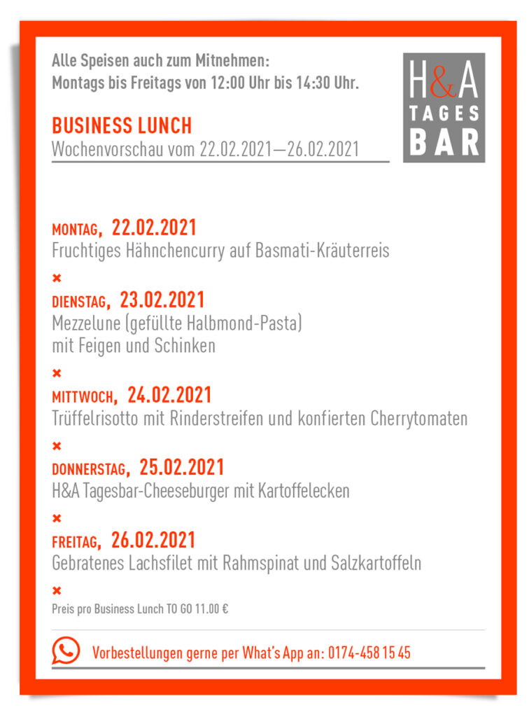 Der Business Lunch in der Tagesbar in KÖLN, Tapas Bar und Restaurant, Cologne Food to Go, Take Away
