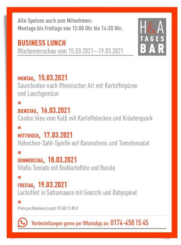 Der Business Lunch inder Tagesbar in Köln zum Abholen, ToGo und Takeaway am Friesenplatz