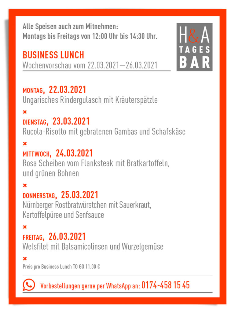 er Business Lunch als TakeAway, To Go Lunch, in Köln am Friesenplatz Restaurant Take Away