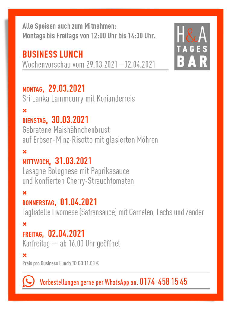 Speisekarte für Food ToGo, TakeAway Mittagskarte und Business Lunch