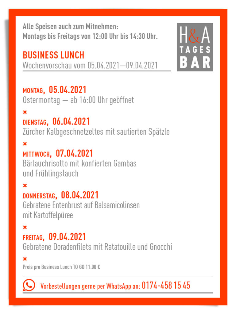 business lunch in der Tagesbar, in Köln am Friesenplatz restaurant und Weinbar