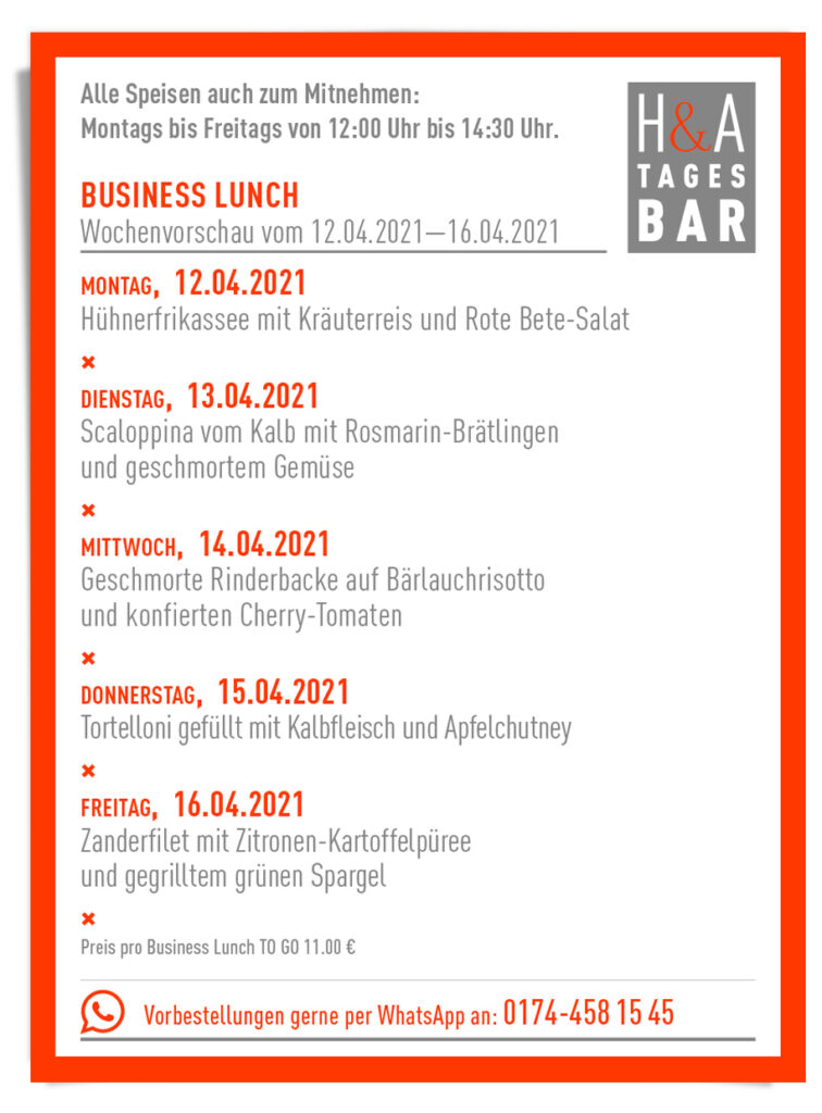 Der Business Lunch in der Tagesbar in Köln, Restaurant und Bar Food to go, Take Away Food cologne