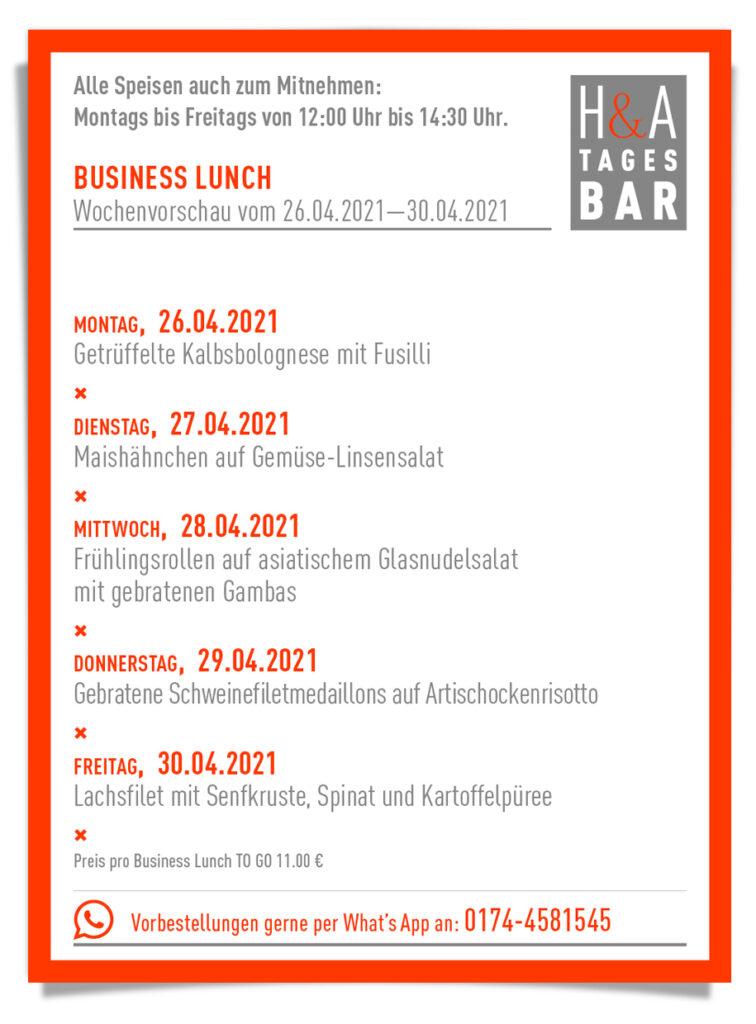 Die Tagesbar mit dem Business Lunch als take away und to go, mittagskarte in Köln am Friesenplatz essen zum mitnehmen