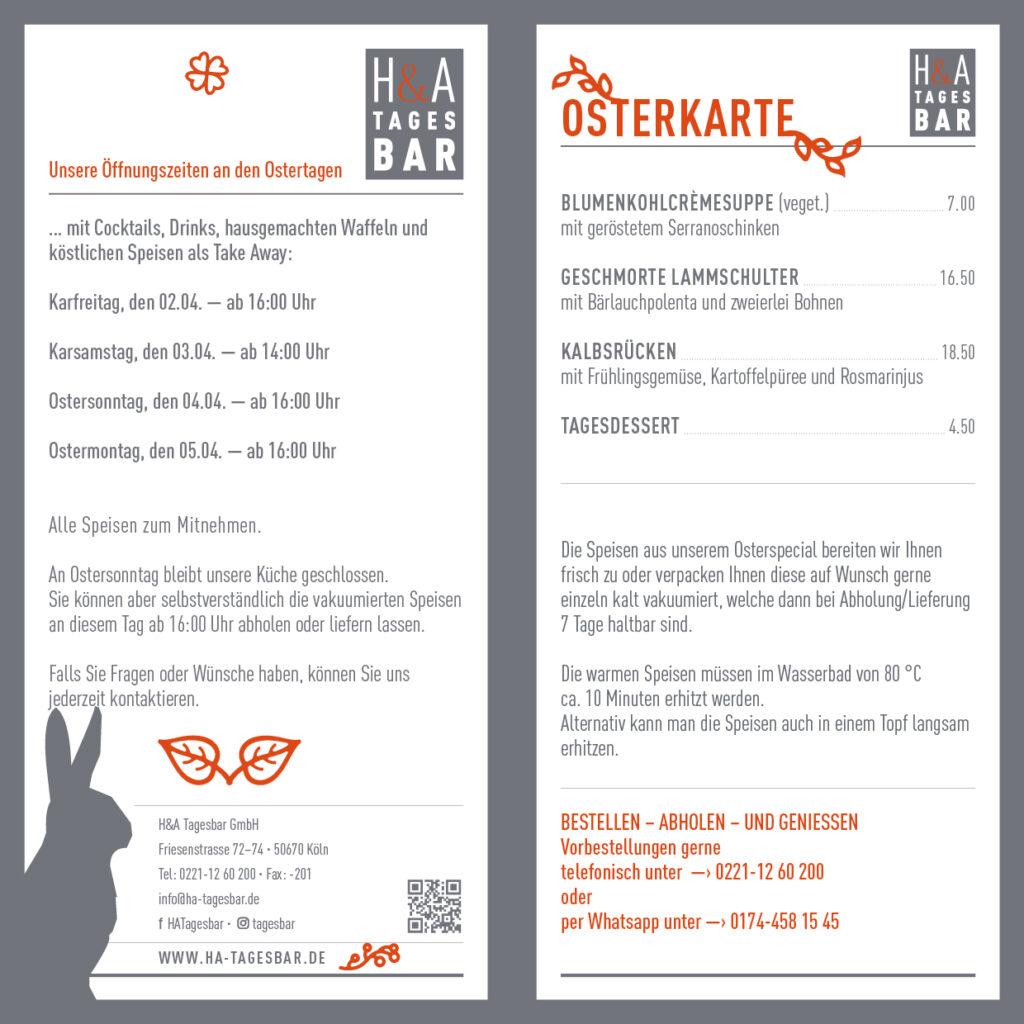 Osterkarte, in der Tagesbar am Friesenplatz, Cologne Food , Essen zu Ostern in Köln